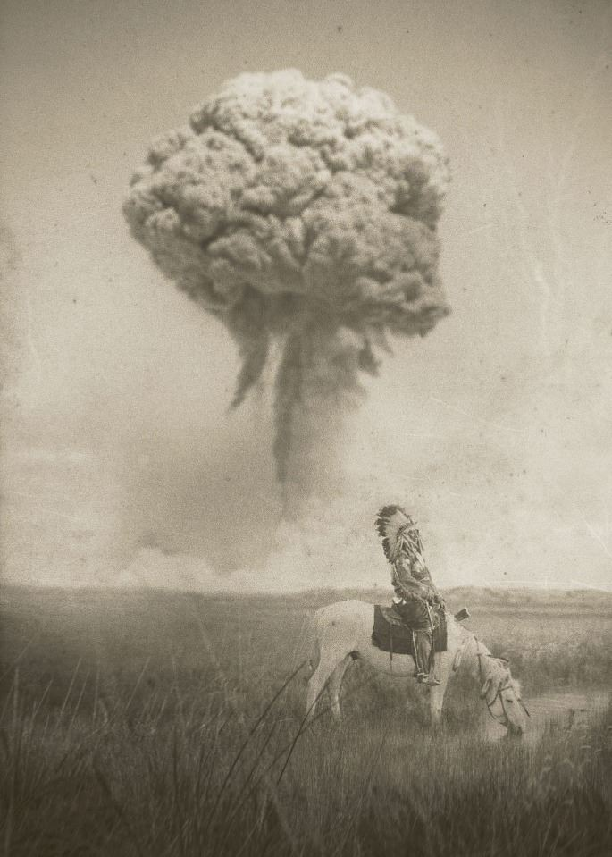 man on horse with explosion in background