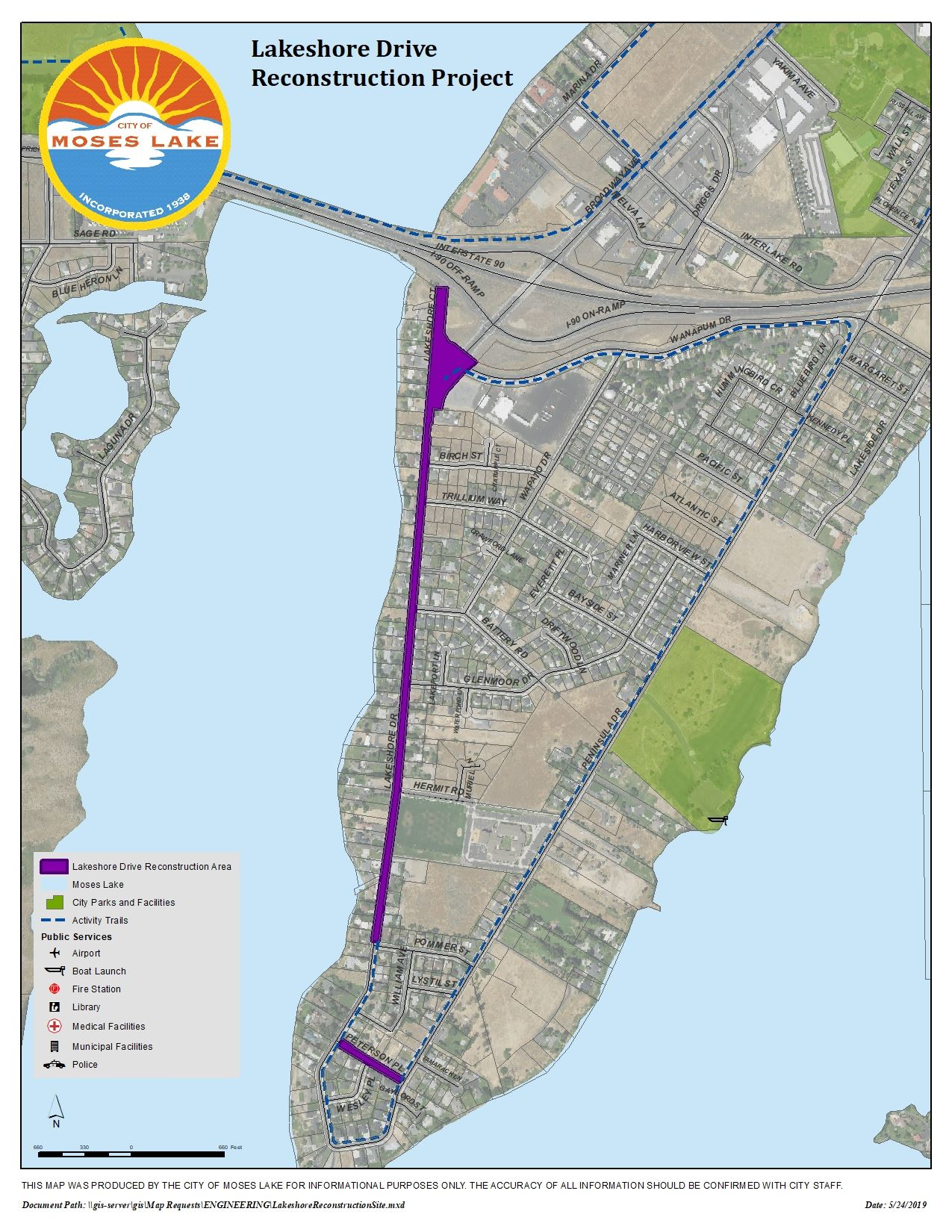Map of Lakeshore Drive Reconstruction Project - 2019