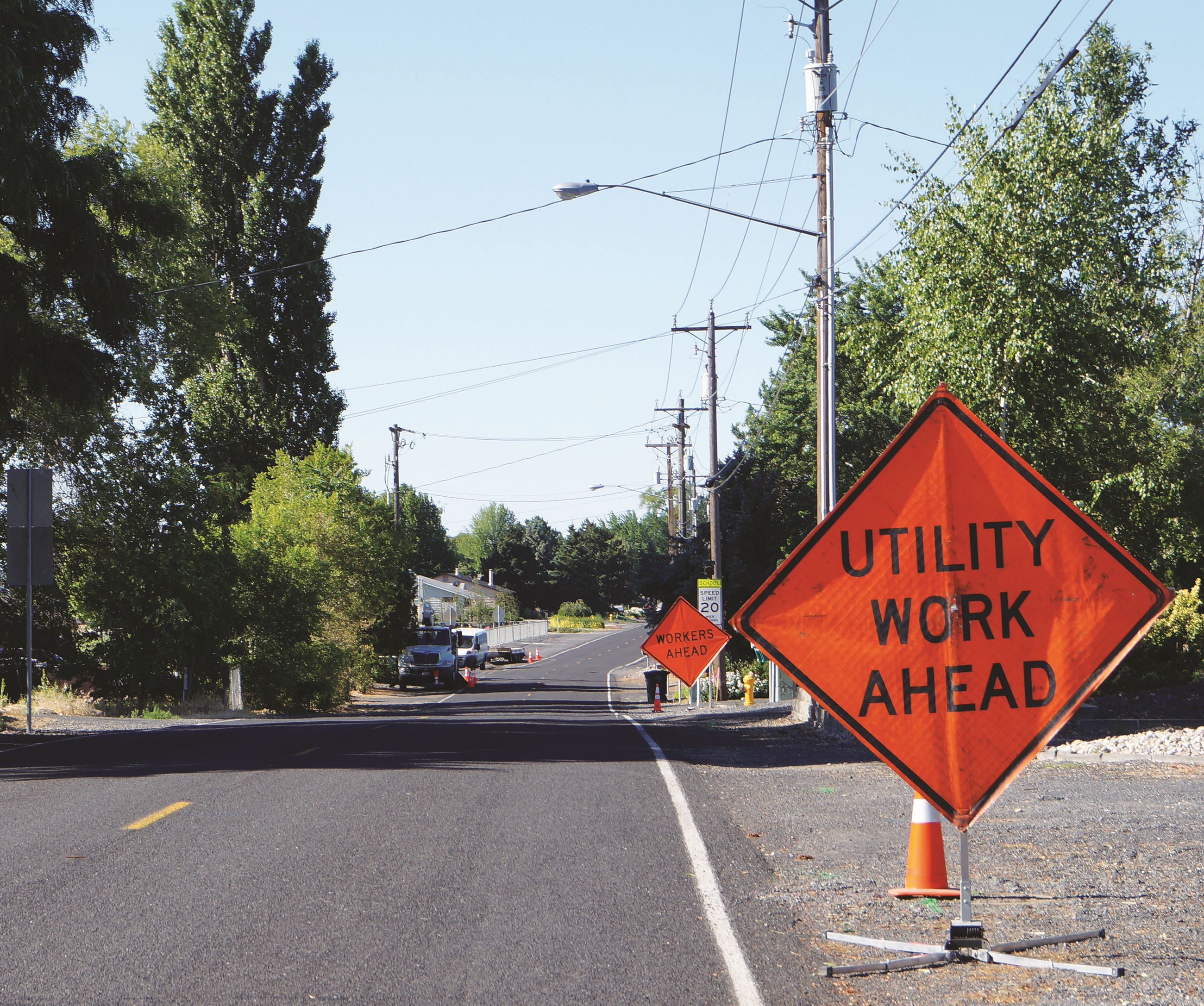 Utility relocation is taking place along Lakeshore Drive to prepare for a major reconstruction proje