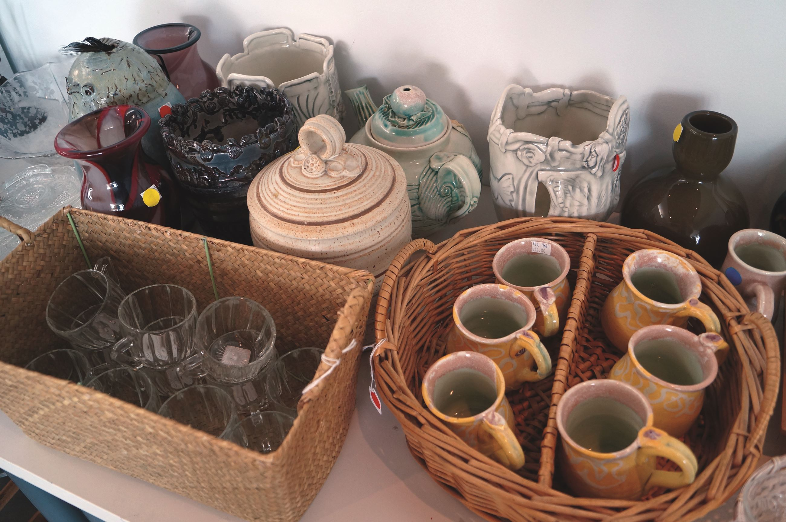 Cups, glasses, more pottery