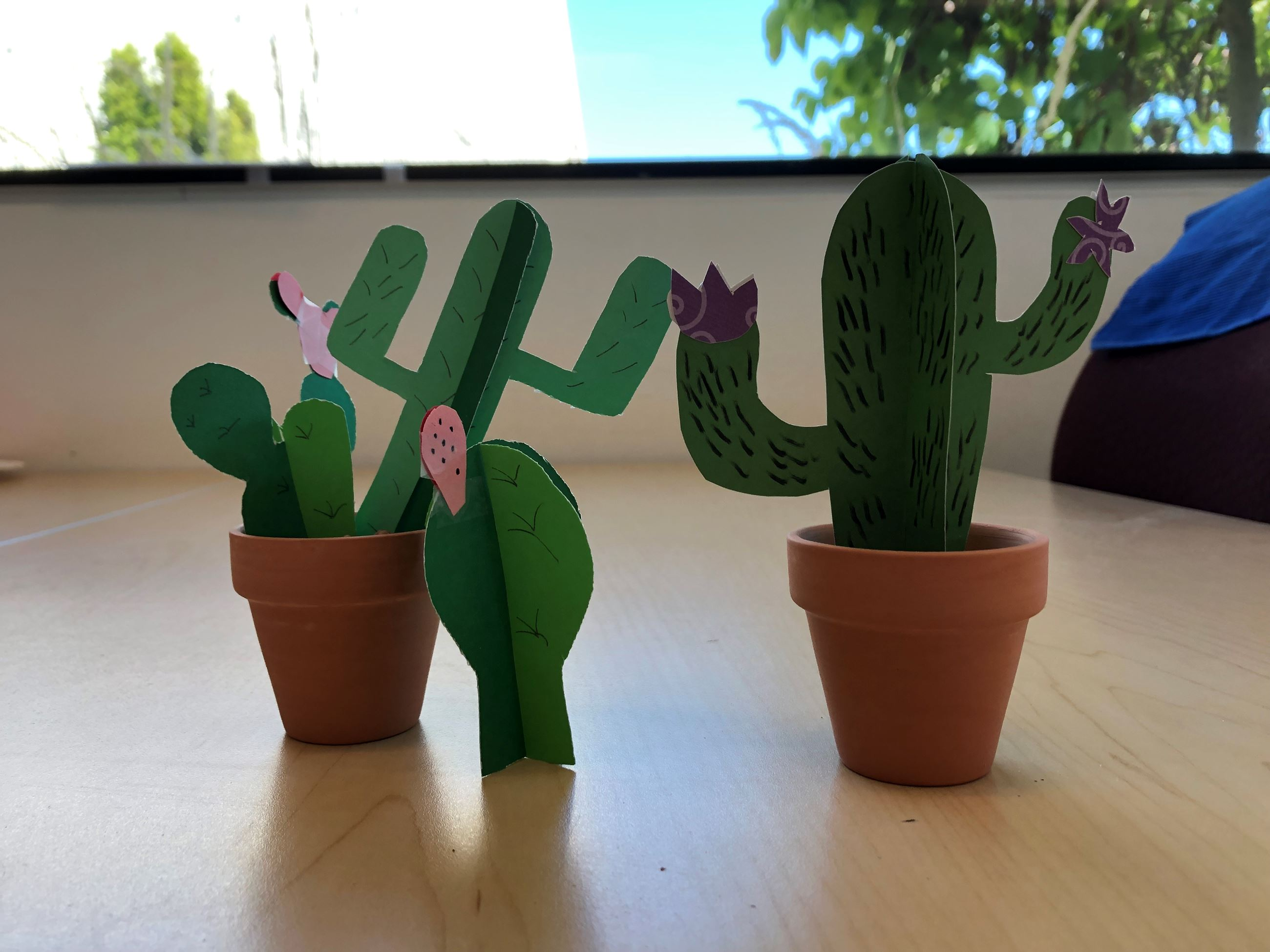 clay pots with green craft paper cactus