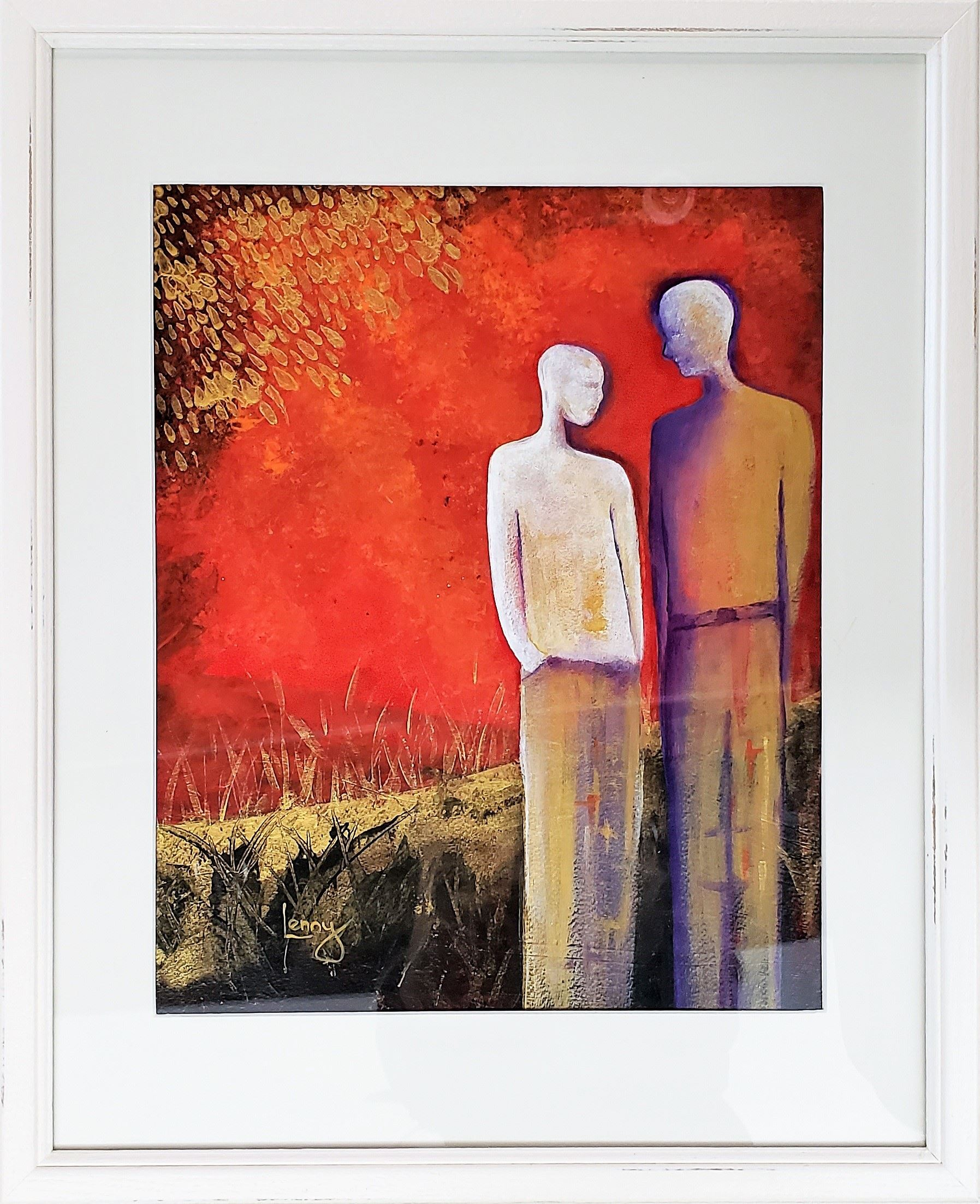 An acrylic painting by Lenny Harm depicting two figures standing close to one another with a red sky