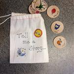 cloth bag with story disks