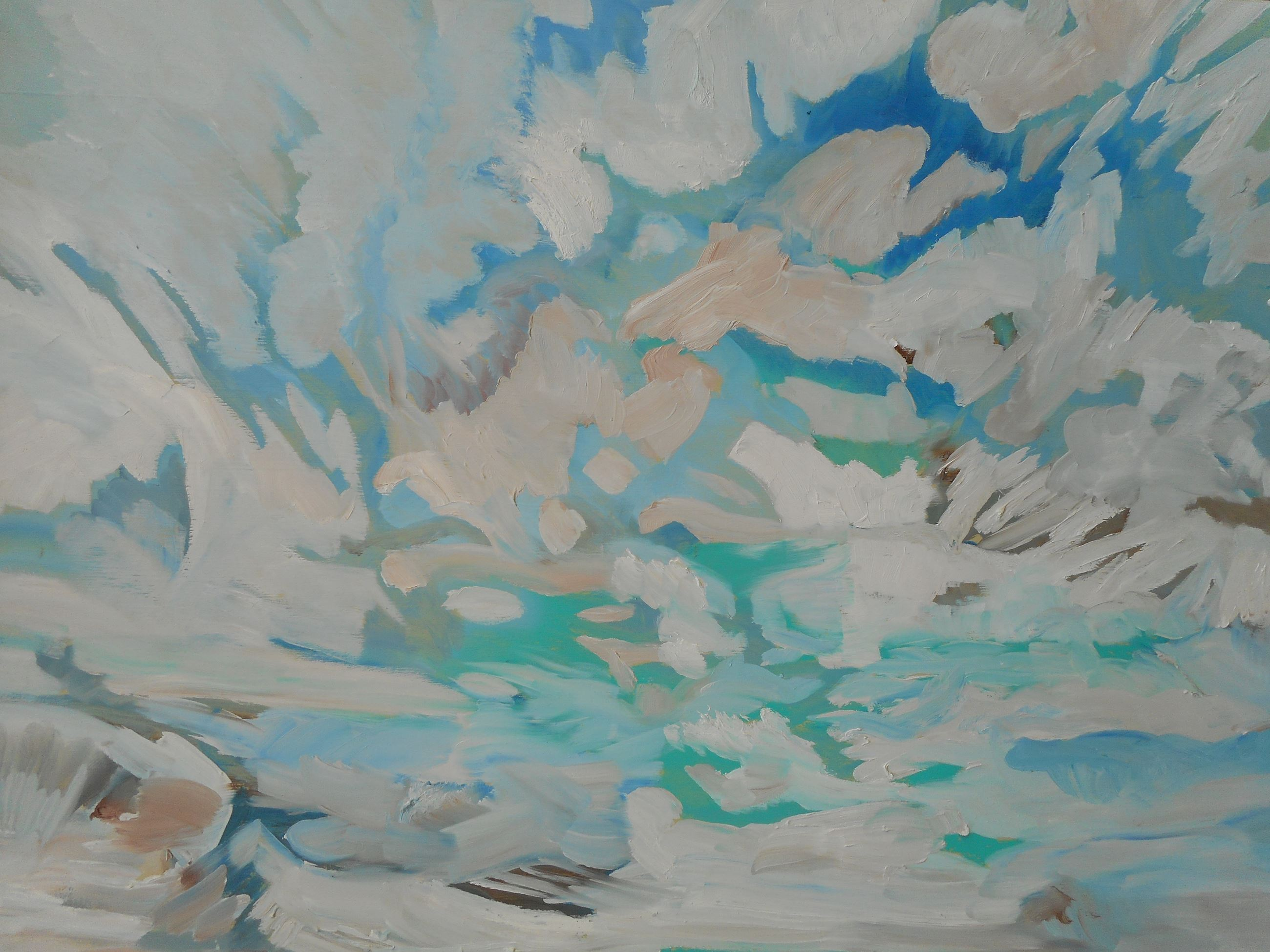 An oil painting of clouds and sky by Karen Mobley