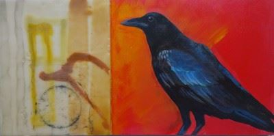 abstract artwork of a crow
